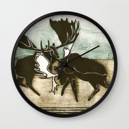 Moose Fight Wall Clock