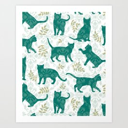 Damask Green Cats Art Print