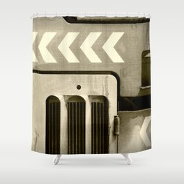 Road Roller Chevron 05 - Industrial Abstract Shower Curtain