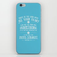 bible verses iPhone & iPod Skins featuring Proverbs 3 verses 5 and 6 - Typographic Bible Verse by Chris Watts