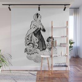 Vintage Illustration, Virgin Mary and Cherubs Wall Mural