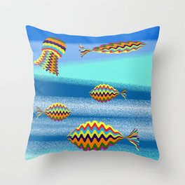 under the sea there's a colorful world Throw Pillow