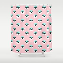 Evil Eyes on Pink Shower Curtain