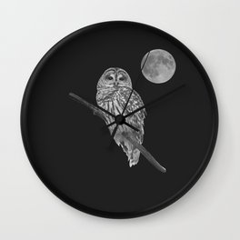 Owl, See the Moon (bw) Wall Clock
