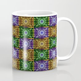 K115 Purple, Gold and Green Stamp Pattern Design Coffee Mug