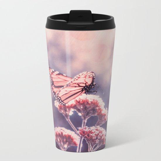 Butterfly Kisses, Dusty Purple Bokeh Background Metal Travel Mug