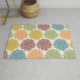 Retro Art, Vintage, Floral, Colorful Print Rug