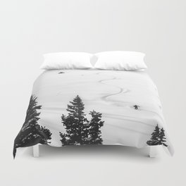 Backcountry Skier // Fresh Powder Snow Mountain Ski Landscape Black and White Photography Vibes Duvet Cover