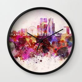 Singapore V2 skyline in watercolor background Wall Clock