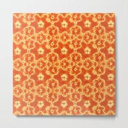 tie dye floral in hot orange Metal Print