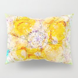 Watercolor Flower Painting, Modern Abstract  Bloom in Orange & Lime Green Pillow Sham