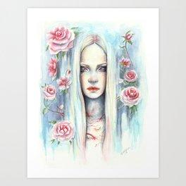 """Blossom"" Watercolour Surreal Fantasy Nymph Art Print"