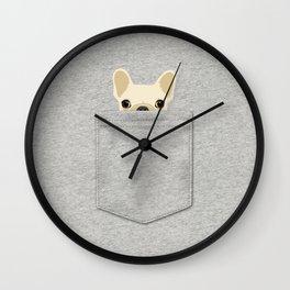 Pocket French Bulldog - Cream Wall Clock