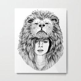 Lion Lady Metal Print