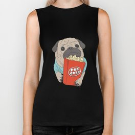 Pug with popcorn Biker Tank