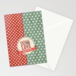 Do what you love text quote red and blue dots and stars pattern Stationery Cards