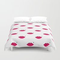 lips Duvet Covers featuring lips by namaki