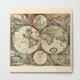 Ancient Map of the World 1689 Metal Print