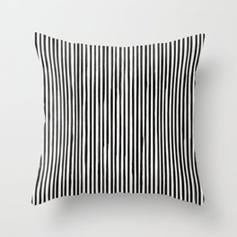 Skinny Stroke Vertical Black on Off White Throw Pillow