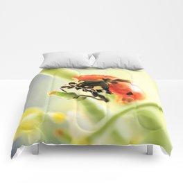 Spring Garden Ladybug On Broccoli Comforters