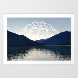 Pacific Northwest Lake Mandala Sunset Art Print