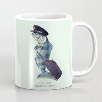 pilot Mugs featuring The Pilot (colour option) by Eric Fan