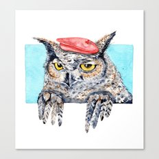 Serious Horned Owl in Red Beret Canvas Print