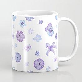 Purple Watercolor Floral Pattern Coffee Mug
