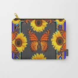 Western Grey & Orange Monarch Butterflies  sunflower Patterns Art For t Carry-All Pouch