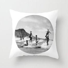 Tandem Surfing Throw Pillow