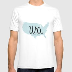 USA White MEDIUM Mens Fitted Tee