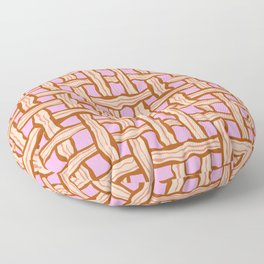 bacon weave on pink Floor Pillow