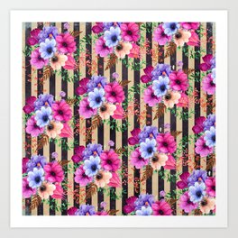 Fragrant Floral Bouquets on Striped Pattern Art Print
