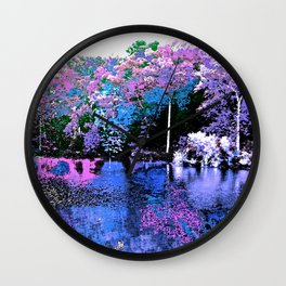 Spring Trees Beside the Lake Wall Clock
