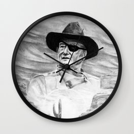 John Wayne Portrait Drawing Wall Clock