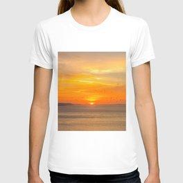 Sunset Coast with Orange Sun and Birds T-shirt