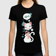 Cat and Fish 2 Womens Fitted Tee Black SMALL
