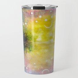 Crescent Moon Reflection Galaxy watercolor by CheyAnne Sexton Travel Mug