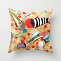 dessert Throw Pillows featuring Watercolor Dessert by Ruth Fitta Schulz