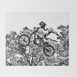 Stealing the Air - Freestyle Motocross Rider Throw Blanket