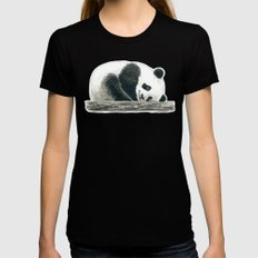 Panda bear Black Womens Fitted Tee SMALL