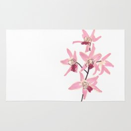 Pink Orchid Flower Rug