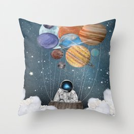 a space adventure Throw Pillow