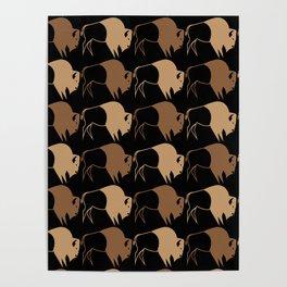 Native American Buffalo Running Poster