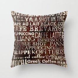 Abstract grunge coffee background with grunge wooden texture Throw Pillow
