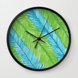 Blue and Green Palm Leaves Wall Clock