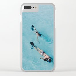 swimming in ocean Clear iPhone Case