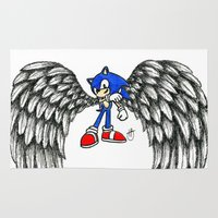 sonic Area & Throw Rugs featuring Sonic Angel by Hollie B