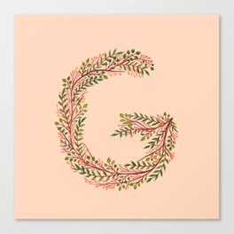 Leafy Letter G Canvas Print