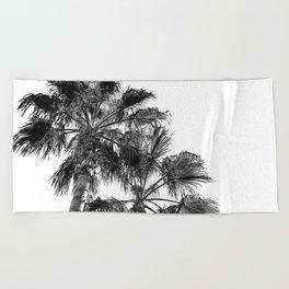 B&W Palm Tree Print | Black and White Summer Sky Beach Surfing Photography Art Beach Towel